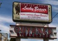 Lucky Beaver Bar Burger Outdoor Sign